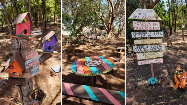 Materiais recicláveis tomaram novas formas e deram mais vida ao lugar (Imagens: Ana Luiza Cordeiro).