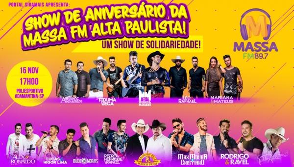 Definida a grade de artistas e pontos de venda de ingressos para show da Massa FM