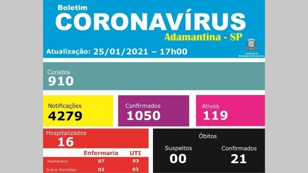 Boletim divulgado nesta segunda-feira (25) pela Prefeitura de Adamantina (Reprodução).