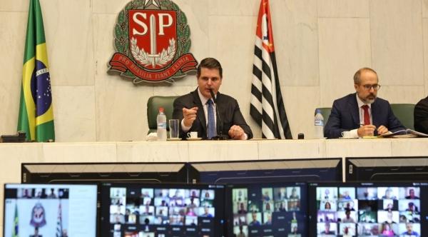 Deputado Cauê Macris durante sessão online nesta terça (16) na Assembleia Legislativa do Estado de São Paulo (Da Assessoria).