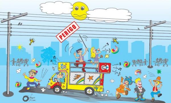Energisa orienta sobre cuidados com energia elétrica nas brincadeiras de carnaval (Imagem: Reprodução/ABRACOPEL ? Associação Brasileira de Conscientização para os Perigos da Eletricidade).