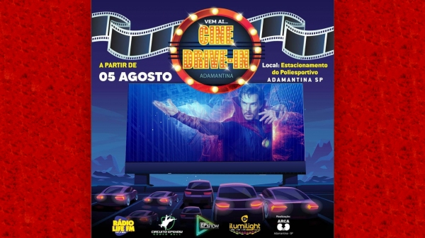 Programação do Cine Drive-In começa nesta quarta-feira (5) e segue até domingo (9) no Recinto Poliesportivo (Divulgação).