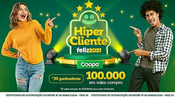 Cocipa lança promoção Hiper Cliente Feliz 2021 com mais de R$ 100 mil em vales-compra