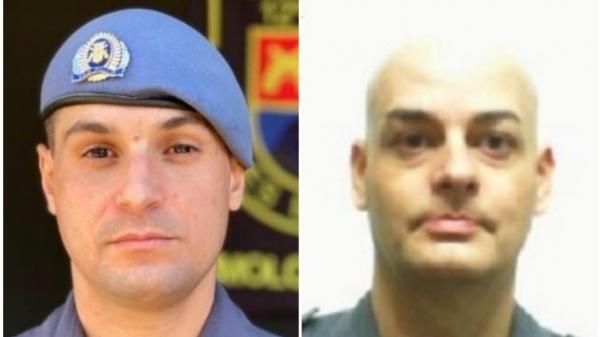 O soldado Bruno Tunes, segunda vítima fatal que morreu após três dias hospitalizado, e o sargento André Ciolin, que morreu no local do acidente(Reprodução).