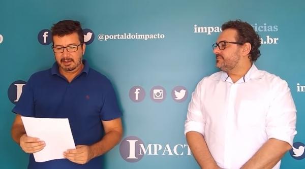 Sérgio Vanderlei, presidente do Sincomercio, e Luis Henrique Sgobbi Mortari, presidente da ACE, expõe cenário crítico sobre o comércio adamantinense (Reprodução/Grupo Impacto).