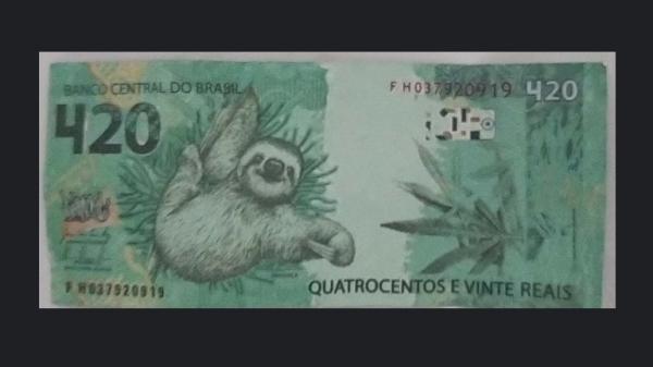 Cédula falsa de R$ 420 faz alusão ao horário conhecido para consumo de drogas (Divulgação/Polícia Civil).