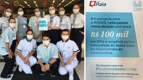 Parte da equipe da Droga Raia de Adamantina divulga a doação de R$ 100 mil para a Santa Casa de Adamantina, para custeio das despesas com o enfrentamento da Covid-19 (Divulgação).