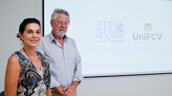 Márcia Molina Fonseca e Eduardo Fonseca Neto, no polo UniFCV em Adamantina, já em funcionamento no Liceu de Inovação, Tecnologia e Educação (Foto: Siga Mais).
