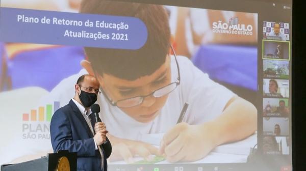 Secretário de Estado da Educação, Rossieli Soares, apresenta ações para a retomada das aulas presenciais a partir de 1º de fevereiro na rede estadual de ensino (Foto: GovSP).