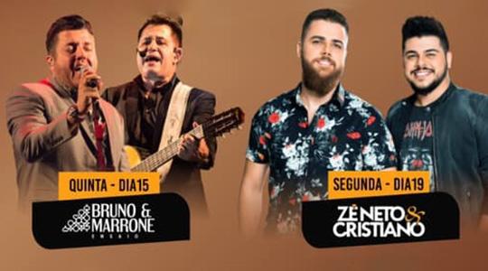 Bruno & Marrone e Zé Neto & Cristiano são as duas principais atrações da 50ª Exapit, que acontece em agosto, em Tupã (Divulgação).