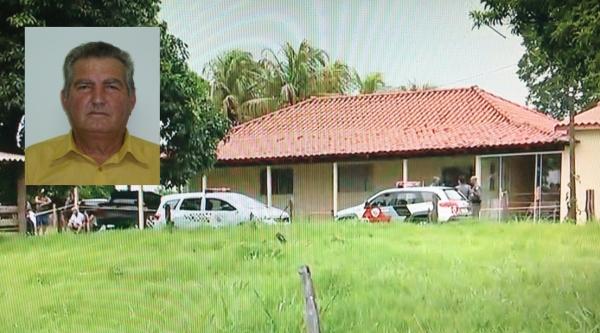 Polícia foi chamada na propriedade rural após filho encontrar os pais mortos a tiros, no quarto da residência, em Santo Expedito (Reprodução/TV Fronteira). No detalhe o vereador morto, Valfrido Cauneto (Câmara Municipal).