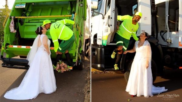 Márcia Andriotti decidiu homenagear o noivo Paulo Ribeiro da Silva, que trabalha na coleta de lixo, em Birigui (Fotow: Lunardo e Roberta Pulzatto Fotografia/Divulgação).