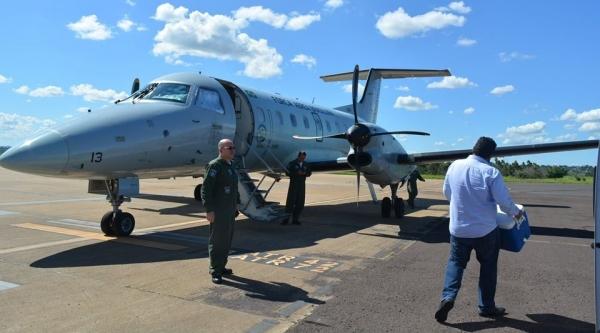 Após captação, órgãos deixam Presidente Prudente rumo a Sorocaba, em avião da FAB (Foto: Santa Casa de Pres. Prudente).