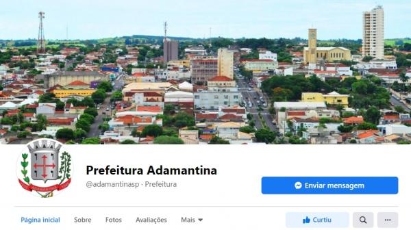 Tela inicial da nova fanpage da Prefeitura de Adamantina (Reprodução).