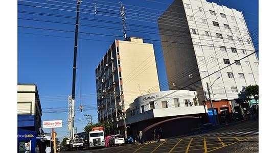 Obras na fachada do Paço Municipal foram iniciadas nesta quarta-feira, com prazo de execução de 60 dias (Da Assessoria).