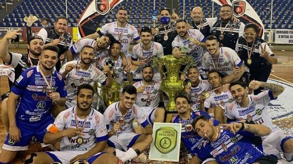 Dracena Tempersul Intelli é a equipe campeã da Liga Paulista de Futsal (LPF) 2020 (Divulgação).