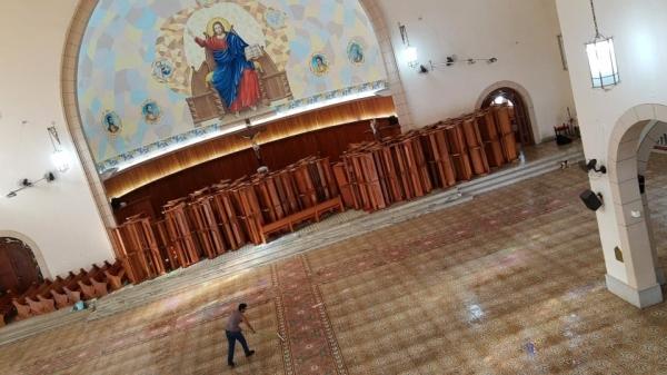 Igreja Matriz de Santo Antônio é preparada para o retorno das celebrações presenciais, com completa limpeza do local (Foto: Cedida/Luiz Eugênio).