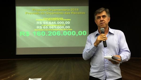 Prefeito Márcio Cardim fala sobre os principais aspectos prioritários no orçamento de 2018 (Foto: Siga Mais).