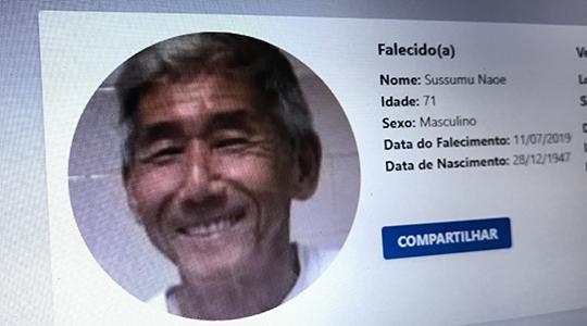 Corpo de Sussumu Naoe será sepultado às 15h30, no Cemitério da Saudade, em Adamantina (Reprodução/Haddad).