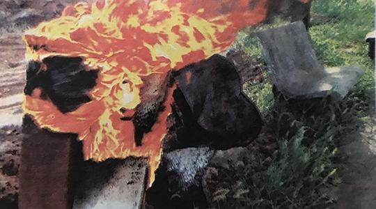 Duas lixeiras foram destruídas pela ação de vândalos, no Parque dos Pioneiros (Reprodução/Luan Nóbrega/Diário do Oeste).