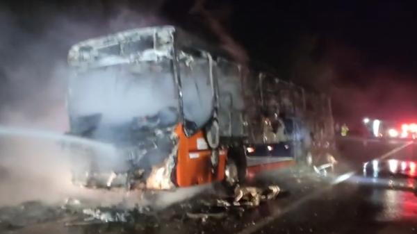 Ônibus rodoviário ficou completamente destruído pelo incêndio (Reprodução/Panorama Notícia).