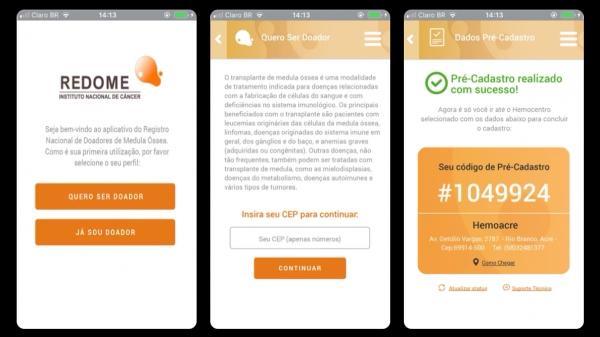 Telas do aplicativo (Reprodução).