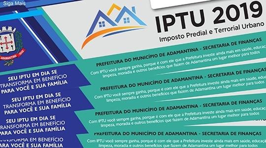 Primeiros vencimentos são para imóveis do Centro, Jardim Brasil e Vila Bandeirantes. Datas são informadas nos carnês (Reprodução).