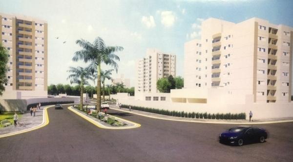 Perspectiva apresentada na época do lançamento do empreendimento, com visão parcial do conjunto de apartamentos (Imagem Ilustrativa).
