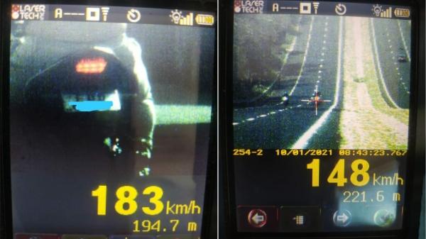 Motos flagradas pela fiscalização a 183 km/h e 148 km/h, na operação deste domingo (Cedida/PM Rodoviária).