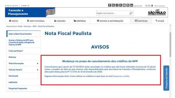 Site da Secretaria Estadual da Fazenda e Planejamento alerta sobre prazo para resgate dos créditos da NFP (Reprodução).