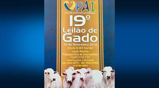 Almoço será servido no Poliesportivo a partir das 11h30, com ingressos no valor de R$ 25. Em seguida acontece o Leilão de Gado (Divulgação).