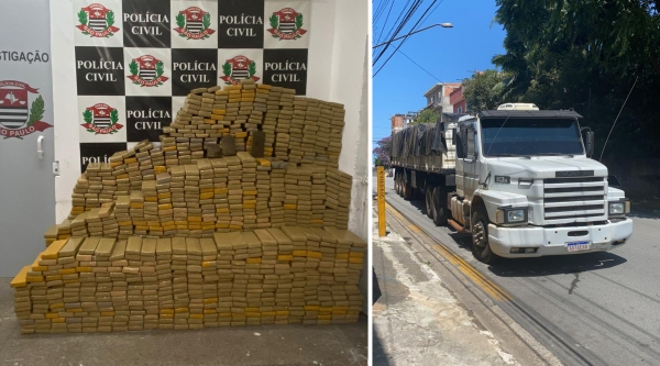 Droga estava na carroceria e seria levada para Pernambuco (Foto: Polícia Civil).