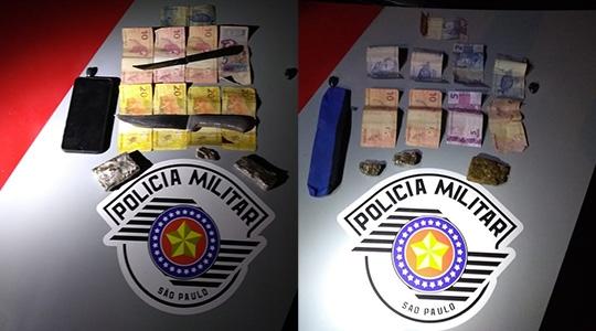 Drogas, dinheiro e outros objetos apreendidos pela Polícia Militar com o rapaz e o adolescente (Fotos: Cedidas/PM).