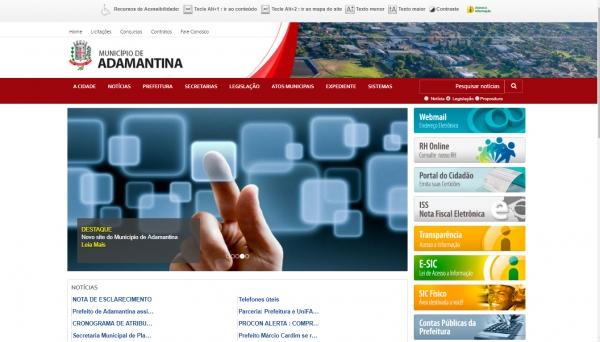 Tela inicial do novo portal da Prefeitura de Adamantina (Reprodução).