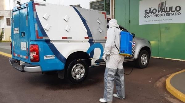 Higienização de viatura, no pátio da Penitenciária Feminina de Tupi Paulista (Divulgação/SAP).