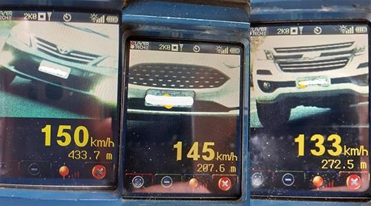 Radares registraram 250 veículos em excesso de velocidade em rodovias da região neste domingo (Cedidas/PM Rodoviária).