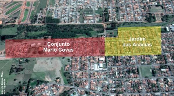 Conjunto Habitacional Mário Covas e Jardim das Acácias, região crítica para casos de leishmaniose em Adamantina (Imagem: Google Maps. Arte: Siga Mais).