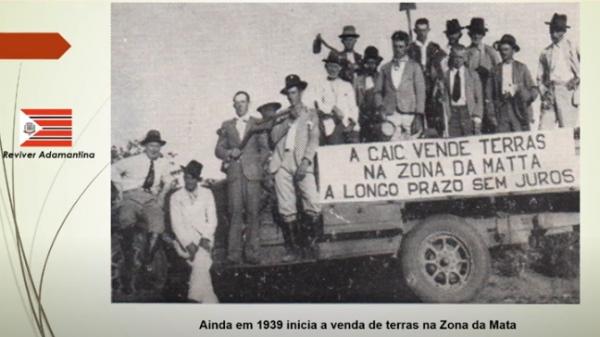 Uma das imagens emblemáticas, de 1939, sobre o início das vendas de terras, em Adamantina,  (Reprodução).
