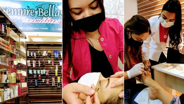 No mesmo espaço, loja de cosméticos e área de aprendizagem com cursos de manicure, pedicure e sobrancelha, na Rua Osvaldo Cruz, 295, centro de Adamantina (Siga Mais).