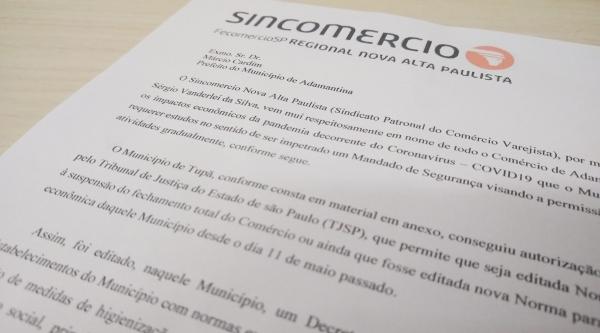 Novo pedido do Sincomercio Nova Alta Paulista (Sindicato Patronal do Comércio Varejista) foi protocolado na Prefeitura de Adamantina (Reprodução).