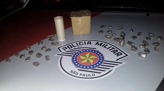 Droga foi apreendida e traficante detido pela Polícia Militar (Foto: Cedida/PM).