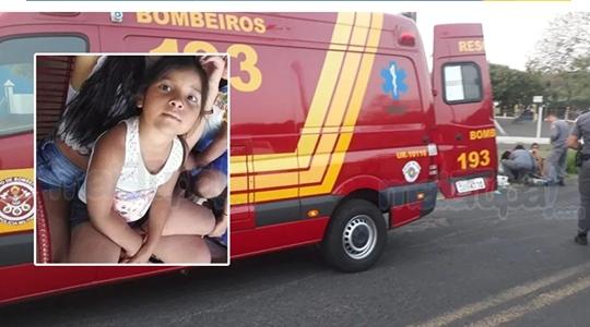 Menina Isabella, de quatro anos, vítima fatal do acidente ocorrido ontem (15). Foi socorrida em estado gravíssimo, porém não resistiu e morreu nesta segunda-feira (Reprodução: Site Mai Tupã).