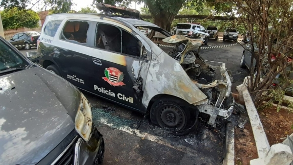 Três viaturas da Polícia Civil foram atingidas pelo incêndio (Foto: Mariane Santos/TV Fronteira).