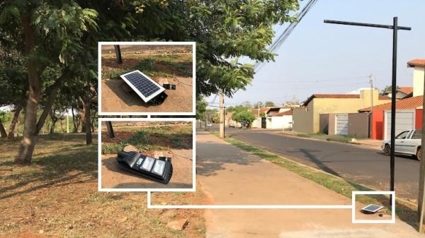 Luminária foi encontrada pela reportagem na pista de caminhada do Parque Caldeira e levada ao almoxarifado municipal (Foto: Siga Mais, em 22/09/2021).