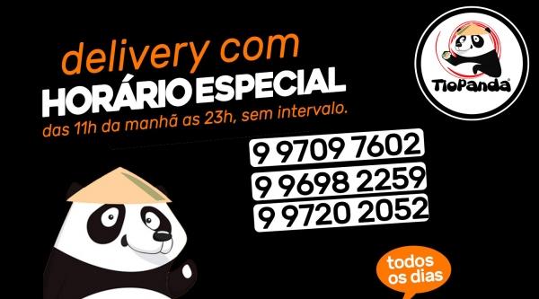Tio Panda atende exclusivamente delivery, no período das 11h às 23h, ininterruptamente (Divulgação).