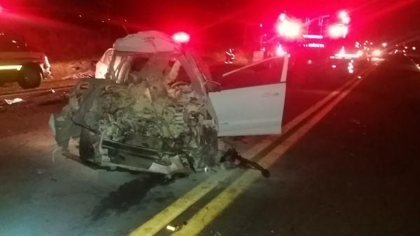Automóvel HB20, onde estava o condutor, vítima fatal (Cedida/PM Rodoviária).