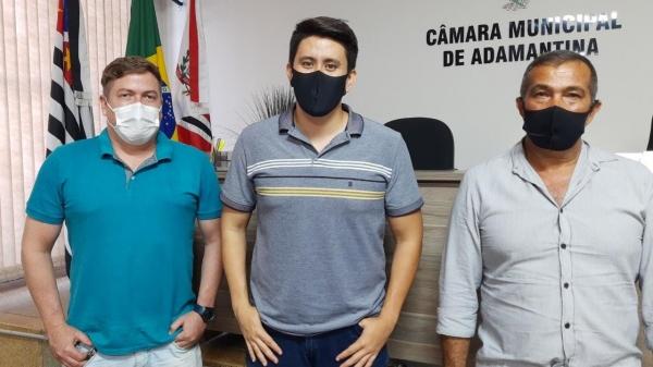 Rafael Pacheco, Alcio Ikeda e Bigode da Capoeira, vereadores do Podemos em Adamantina (Divulgação).